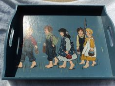 Hand made decorative tray for hanging only/ Hand painted group of children / Gone Fishing/folk art by WhiskeysWhims on Etsy