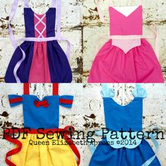 PRINCESS Pack Set of 4 pdf SEWING PATTERNS por QueenElizabethAprons