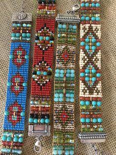 off loom beading techniques Bead Loom Designs, Bead Loom Patterns, Weaving Patterns, Bead Loom Bracelets, Beaded Bracelet Patterns, Seed Bead Jewelry, Bead Jewellery, Beading Techniques, Loom Beading