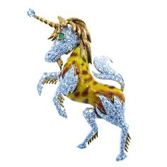 Enchanting Unicorn Brooch | From a unique collection of vintage brooches at https://www.1stdibs.com/jewelry/brooches/brooches/