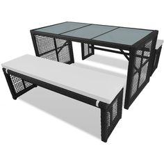 Polyrattan Gartenmöbel Set 1 Tisch Und 2 Bänke Schwarz   Garten, Schwimmbad