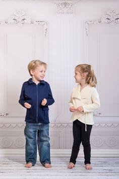 Boys Navy Military Jacket with Girls Ivory Wintry Wrap Cardigan