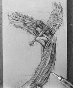 Dark Art Drawings, Art Drawings Sketches Simple, Pencil Art Drawings, Realistic Drawings, Pencil Sketching, Amazing Drawings, Creative Sketches, Angel Sketch, Angel Drawing