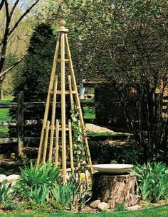 "DIY ""How to Make a Pyramid Trellis"" Build a designer wood trellis for climbing plants."