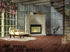 Sims 4 Designs: Nathan Set: Antique White Faux Fireplace • Sims 4 Downloads