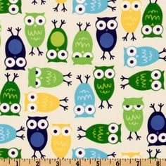 Urban Zoologie Owls Blue from @fabricdotcom  Designed by Ann Kelle for Robert Kaufman Fine Fabrics, this fabric features adorable owls and is perfect for quilting and craft projects. Colors include navy, turquoise, white, yellow and green on an ivory background.