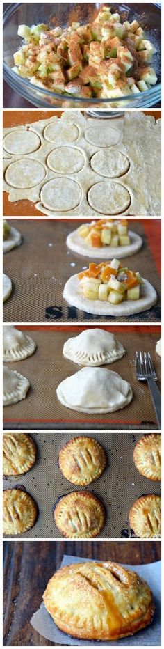 Salted Caramel Apple Hand Pies- even easier if I buy dough in the tubes like from Pillsbury. No need for eggs and salt, but I do like the idea of adding a little caramel inside with the cubed apples.