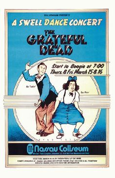 Concert poster for The Grateful Dead at Nassau Coliseum in New York in 1973. 11x17 inches on card stock.