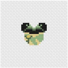 Disney Mouse Ears Tiana Cross Stitch Pattern .PDF - Instant Download Pixel Art Templates, Perler Bead Templates, Pearler Bead Patterns, Cross Stitch Love, Beaded Cross Stitch, Cross Stitch Embroidery, Perler Beads, Perler Bead Art, Fuse Beads