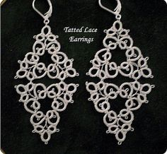 White Tatted Lace Earrings by designedkeepsakes on Etsy, $28.00