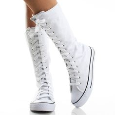 White Lace Up Boots Canvas Sneaker Flat Skater Punk Womens Skate Shoes