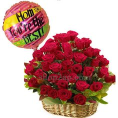 Order These Roses Basket With Balloon This Mother's Day Through Shop2Vizag. Flowers & Balloon For Wishing With Your Warm Affection - Available Only In Vijayawada