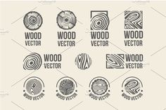 Set of wood rings texture logo by AliceNoir on @creativemarket