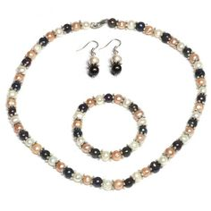 "Multi-Color Freshwater Pearl Necklace Earrings Bracelet Set 7-8mm 18"" $14.99"