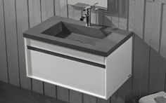 ROCCIA supply this product line: Acquabella: MUEBLE BOX. Grey and white sink unit vanity