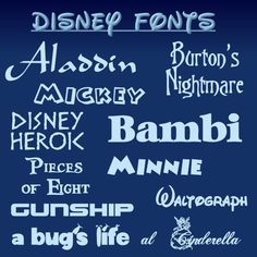 Awesome free fonts inspired by Walt Disney creations - nice for creating teaching materials!