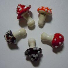 Mushroom Lampwork Bead Set of Five by JBJ Glass by JBJGlassStudio, $22.00