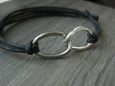 Bracelet Hammered Aluminum Infinity. It says it's for guys, but I would totally wear one, too :) Hmmm... possible alternative to promise rings? $22.50