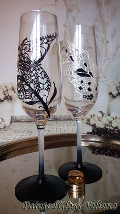 CRYSTAL SET of 2 hand painted Wedding by PaintedGlassBiliana