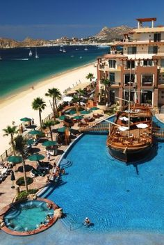Villa del Arco Beach Resort in Cabo San Lucas.  This resort has beautiful white sand beaches...not only that but the pool bar is in fact a pirate ship.