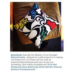 """I love getting customer photos! Check out this customer photo from happy art lover @grouchyron who just received his """"Never A Flaw Summertime Fine Pillow""""! Thank you so much for your purchase and this picture. I hope you enjoy your pillow. (Not too much though. LOL)  get your fine art pillows at www.AliyaMichelleMyHeartYourArt.com (link in bio) by aliyamichelle_"""