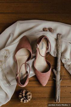 Wedding shoes ideas - heels, red, pastel, pink, close toe, winter, salmon {Jordan Katz Media}