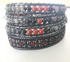 Spirited earth designs leather wrap bracelet with larvikite,obsidian & red jasper