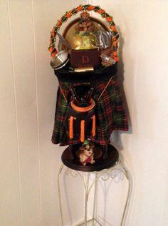 SALE Handmade SCOTTISH KILT Orange & Green Barware Gift Basket by cappelloscreations, $78.00 @Etsy