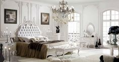 I love this bedroom set very vintage, chick, french provincial furniture. Great idea for a master bedroom decor. White bedroom decor ideas.