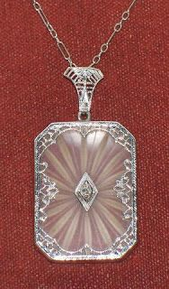 """""""Beautiful Antique Art Deco 14K Gold Camphor Glass Necklace set w/Diamond"""" listed on Ebay by dshaw3. Click through for link to lot and a first-timer's guide to buying jewelry on Ebay by Diamonds in the Library."""