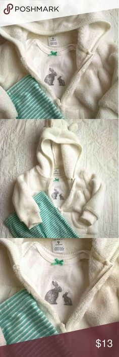3pc Bunny Outfit Carter's 3 piece outfit  Includes:  Onesie with mom and baby bunny  Zip up hoodie jacket with baby bunny ears Matching Pants Color: White and Teal Carter's Matching Sets