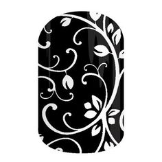 A white vine pattern grows effortlessly across a black background.      #BlackFloralJN Jamberry Nail Wraps