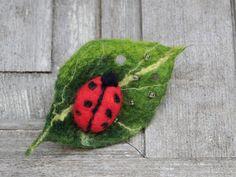 Cute ladybug on leaf felted brooch felt jewelry. by filcAlki