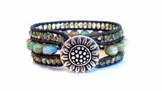 Pastel Cuff Leather Wrap Bracelet Sunflower Button by PZWDesign