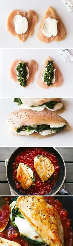 Stuffed Chicken Breasts with Mozzarella & Spinach – Seriously cheesy and bursting with flavors, this quick dinner for two is perfect for a busy night. (healthy meals for dinner projects) Health Dinner, Paleo Dinner, Vegetarian Recipes Dinner, I Love Food, Good Food, Yummy Food, Tasty, Quick Dinners For Two, Easy Meals