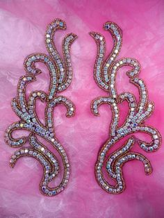 Gold Beaded Crystal AB Rhinestone Black Backing Appliques Mirror Pair Motifs