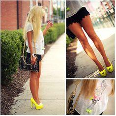 Neutral black & gray + neon shoes!