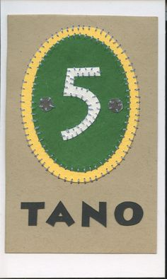 tano (five)... swahili flashcards 4x6 inches hand-cut and sewn paper collage