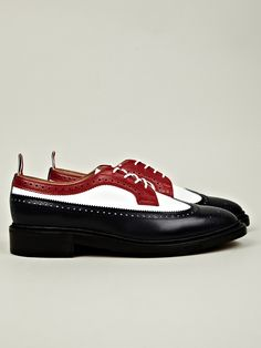 Thom Browne Men's Gibson Spectator Brogue in red / white / blue at oki-ni