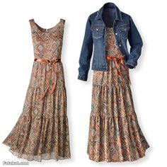 tiered pattened maxi dress with jean jacket