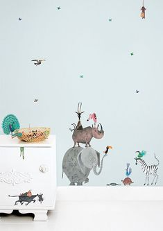 Animal wall stickers animals elephant jungle nursery for baby room australian Baby Wall Stickers, Wall Stickers Animals, Jungle Nursery, Animal Nursery, Pastel Girls Room, Jungle Illustration, Baby Sleep Schedule, Animal Crafts For Kids, Kids Room Wallpaper