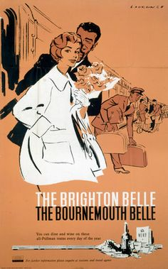 'The Brighton Belle, The Bournemouth Belle', BR (SR)   1960s.Poster produced for British Railways (Southern Region) to promote travel on the Brighton and Bournemouth Belle. Illustrated with a couple getting off a train, the woman holding a bunch of flowers. Artwork by Laurence Fish.