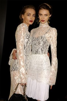 Snejana Onopka & Olga Sherer Backstage at Dolce and Gabbana