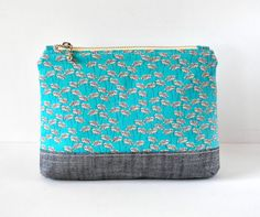 Women's grey aqua dandelion seed pods padded beauty pouch protective toiletry metallic linen botanical flower makeup bag cosmetics pouch. by CuriousMissClay on Etsy