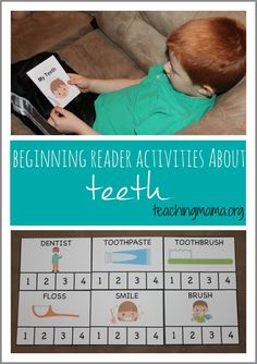 Beginning Reader Activities About Teeth including printable book and syllable cards. Toddler Learning Activities, Phonics Activities, Fun Activities For Kids, Educational Activities, Learning Resources, Fun Learning, Dental Works, First Grade Freebies, Teaching Writing