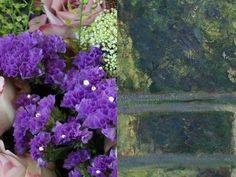 """Purple Statice - """"The deep violet coloured Statice is dispersed throughout this bouquet to resemble the darker colours created by the shadows of the bridge and the distant trees. It was also included for its papery texture, which rustles when touched to create an audible landscape of tall grasses in a summer breeze."""" – Prestige Flowers #NGArtBouquet #Bouquet #Florist #Flowers #Art"""