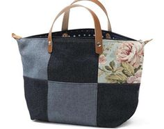 Handbag Falstaff, Denim, Chenille, Blue, Ivory, Zipper top closure, Leather handles