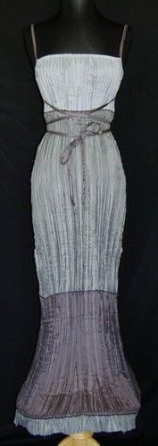 (wow) Cop Copine Long Gray Stretch Crinkle Gown Dress s M Robe Avant Garde Wire Hem   eBay