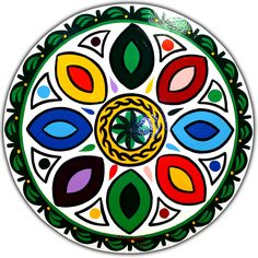 vivid colors on this Daddy Hex sign..   Keeps away all Famine, Plague & all the Evils of Life. The rossetes ward off disease and pestilance.   All the 9 colors in Hex Signs have specific meanings.   White, Red, Yellow, Black, Blue, Violet, Green, Orange, and Brown. But this dialog box is not big enough to describe all the meanings.