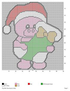 PIG WITH STOCKING by KATHY -- WALL HANGING